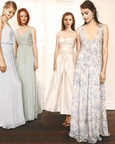 Gone are the days of perfectly matching 'maids. Instead, dress your BFFs in any of these four fresh palettes and let everyone play to their strengths. The result: stylish, stunning, and very happy and comfortable friends.Icy Pastels After a rush in the wedding world for warm blushes and soft neutrals, a collection of icy pastels feels like a refreshing breeze. Dove gray, mint, and pale pink look gorgeous when they're chilling next to one another. Throw a multicolored gown into the mix t...