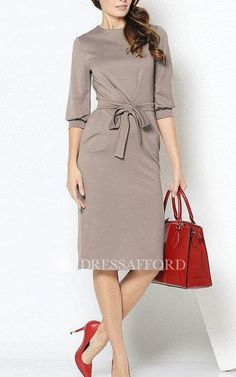 Jewel-Neck 3-4-sleeve Pencil short Dress With bow
