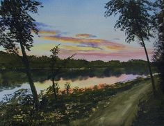 Title:  River Sunset  Artist:  Martin Howard  Medium:  Painting - Watercolour