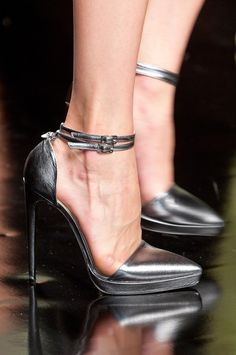 John Richmond Silver Ankle Strap Pumps Spring 2014 RTW #Shoes #HighHeels #Runway