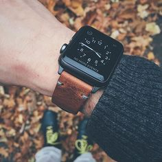 """Apple watch paired with our """"Brooklyn"""" Bas and Lokes handmade leather watch strap. Available at www.basandlokes.com - designer mens watches on sale, compare mens watches, mens black stainless steel watches"""