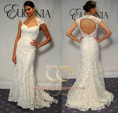 ♥ EG-3534 Sweetheart Trumpet Lace Fabric Cap Sleeves Sweep Train Wedding Dress Inspired by Eugenia Wedding Dress 3534