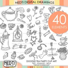 Tea Party Doodle Clip Art, Clipart, Digital Images, PNG, 300dpi, Instant Download on Etsy, $5.94