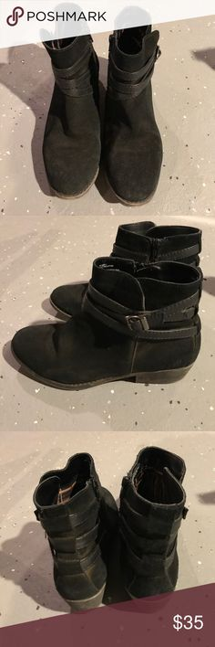 """White mountain black faux suede boots 8 Very comfortable boots with 1"""" heels. Heels and front of toes are a bit worn out but still have life left. No damage but just some minor scuffs and dust. White Mountain Shoes Ankle Boots & Booties"""