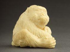 Mitsuaki Ishikawa (Japan, 1848/1852 - 1913)   Monkey, late 19th-early 20th century  Netsuke, Ivory,