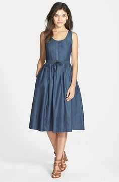 Lighter color with sleeves and collar, like the skirt party.Adrianna+Papell+Drawstring+Waist+Chambray+Fit+&+Flare+Dress+available+at+ Sexy Dresses, Casual Dresses, Summer Dresses, Fashion Wear, Fashion Dresses, Spring Work Outfits, Chambray Dress, Blouse Dress, Retro Dress