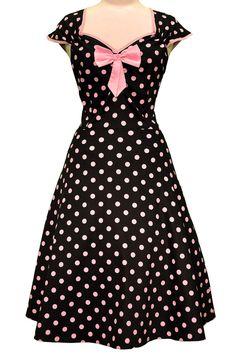 Fede Sort kjole med lyserøde polkaprikker 50 Modetøj til Damer til hverdag og fest