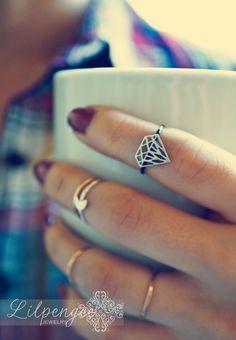 black diamond  diamond gemstone cutout. silver by lilpengee, $30.00