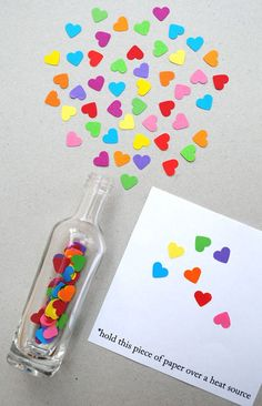 "Best Valentine craft, ever. Who knew that you can use lemon juice as ""invisible ink"" to write a message, then, if the paper is held over a heat source, the message appears! Stuff it in a bottle, add a handful of confetti, and voila – super creative, prett"