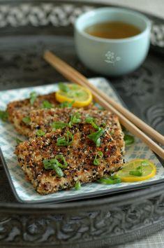 Tofu ferme pané chapelure, sésame complet & sésame noir, jus de limequat