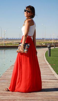 Coral Long Skirt