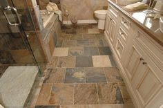 Indian Autumn Gauged Slate Tile Slate is natural stone that is quarried from reliable quarries in India. Long ago, sediment and dirt from a watercourse deposited dirt at the gateway of a superior body of water, giving this stone its Slate Bathroom, Bathroom Floor Tiles, Bathroom Ideas, Tile Bedroom, Family Bathroom, Master Bathrooms, Amazing Bathrooms, Slate Flooring, Kitchen Flooring