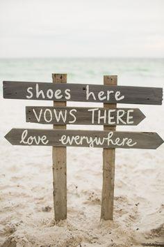 cute beach wedding sign