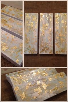White, gold, and blue abstract art by Jenn Meador. 4x12 set of three or sold individually. jennmeadorpaint@gmail.com