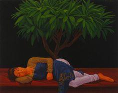 Sleeping Woman Oil on Canvas by Ali Abbas Pakistani Artist. Size: 24 x 30 Figure Painting, Painting Art, Sleeping Women, Spiritual Beliefs, Sufi, Islamic Art, Oil On Canvas, Art Gallery, Artist Art