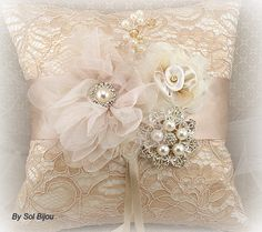 Bridal Ring Bearer Pillow and Flower Girl Basket Set in Champagne, Nude and Ivory - My Dream Wedding Wedding Ring Cushion, Wedding Pillows, Ring Bearer Pillows, Ring Pillows, Pearl And Lace, Pearl Flower, Flower Girl Basket, Wedding Crafts, Wedding Ideas