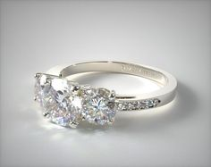 14k White Gold Three Stone Round and Pave Set Engagement Ring | 17135W14 - Mobile