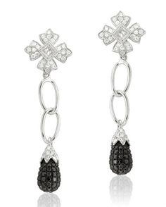 Platinum Amethyst and Diamond Ear Pendants