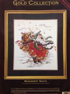 Dimensions Gold Collection Windswept Santa Counted Cross Stitch Peggy Abrams NIP #Dimensions #Frame