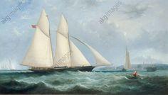 "Fowles, Arthur Wellington c. 1840–1860.  ""The Schooner Yacht ""Cambria"", 188 Tons, Racing off Ryde"", 1868."