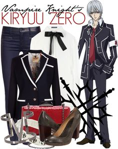 Vampire Knight Fashion » Kiryuu Zero » Cross Academy Uniform [x]  In case you're curious, the official specifications for the Day Class male uniforms are: Shirts are pure white. Jackets, vests, and pants are black. The trim is gray. (Dark blue/white is used in the outfit collage above).  Neckties are cardinal red. Pant cuffs should be about 4 to 4.5cm wide. Socks are black only. Shoes are sepia-colored, school-specified ones. Buttons and school badges are pure silver. Cuff links and buttons…