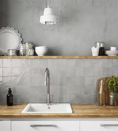 Ivy Hill Tile Amagansett Grey 4 in. x 4 in. / box) - - The Home Depot grau Ivy Hill Tile Amagansett Grey 4 in. x 4 in. Grey Backsplash, Kitchen Backsplash, Grey Kitchen Wall Tiles, Kitchen Soffit, Rustic Backsplash, Backsplash Design, Neutral Kitchen, Kitchen Grey, Kitchen Remodelling