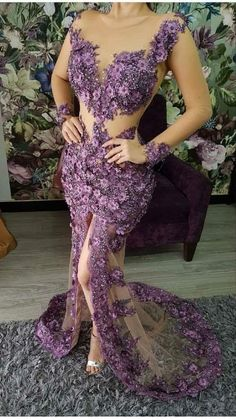 Purple Evening Gowns, Evening Dresses, African Attire, African Fashion Dresses, Dressy Dresses, Elegant Dresses, Dinner Gowns, Eastern Dresses, Fantasy Dress