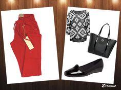 Fargaz Jeans! Calça Vermelho Vibrante em alta!