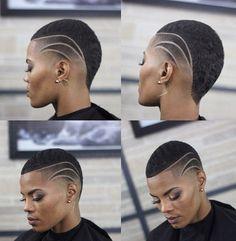 54 ideas for hair black short big chop Natural Hair Cuts, Natural Hair Styles, Short Natural Haircuts, Finger Wave Hair, Shaved Hair Designs, Haircut Designs, Pelo Afro, Corte Y Color, Hair Tattoos