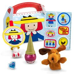Madeline Birthday Party Favor Box with lots o toys and stickers