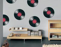 Resultado de imagen para decoracion con vinilos de musica