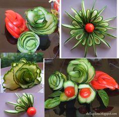 Gemüseskulpturen - New Site Fruit Decorations, Food Decoration, Food Crafts, Diy Food, Cucumber Flower, Creative Food Art, Fruit And Vegetable Carving, Vegetable Salad, Cute Snacks