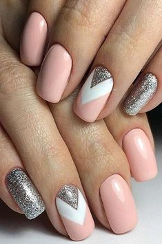 Manicure inspo Www.gelmo fb book an online party f Nageldesign Nail Art Nagellack Nail Polish Nailart Nails Cute Acrylic Nails, Acrylic Nail Designs, Glitter Nails, Acrylic Art, Silver Glitter, Navy And Silver Nails, Pink Sparkle Nails, Silver Nail Art, Pink Sparkles