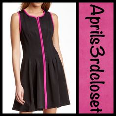 "BETSEY JOHNSON Dress Black A Line NEW WITH TAGS  RETAIL PRICE: $148  BETSEY JOHNSON Dress   * Zip front & split neck   * A-line silhouette & stretch-to-fit fabric   * Wide straps.  * Contrast pink trim.   * About 35"" long; Tagged size 14 (L) will fit sizes 12-14, chest= about 42"" & waist = about 38"" w/stretch ***Dress is clipped to fit mannequin in the photo.  Fabric: 95% Polyester & 5% Spandex  Color: Black  No Trades ✅ Offers Considered*/Bundle Discounts ✅ *Please use the 'offer' button to…"
