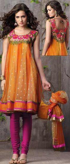gorgeous orange and pink sari dress