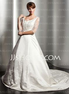 Wedding Dresses - $194.99 - A-Line/Princess V-neck Chapel Train Satin Wedding Dresses With Embroidery Beadwork (002014523) http://jjshouse.com/A-Line-Princess-V-Neck-Chapel-Train-Satin-Wedding-Dresses-With-Embroidery-Beadwork-002014523-g14523