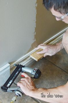 how to take your baseboards from small to tall.  Uses existing baseboards and adds a 1-inch top strip (inexpensive) if the original baseboard is something you like!