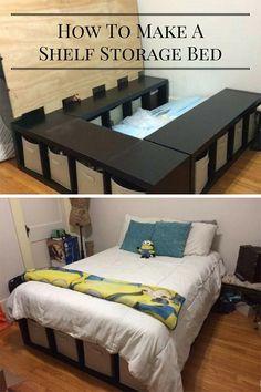 Creative Under Bed Storage Idea - DIY Shelf Bed Storage