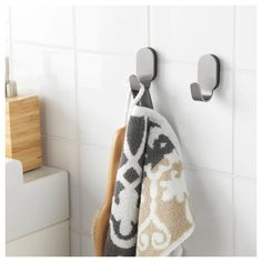BROGRUND Hook IKEA No visible screws, as the hardware is concealed. Made from stainless steel that is durable and easy to clean. Towel Hooks, Towel Rail, Towel Holder, Pottery Barn Baskets, Recycling Facility, Hemnes, Smart Storage, Storage Ideas, Clean Design