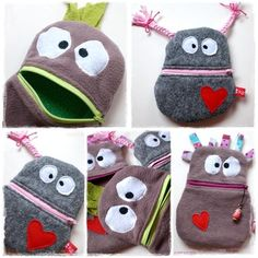 Totally cute trouble-eaters for the little ones- Total niedliche Sorgenfresser für die kleinen Totally cute trouble-eaters for the little ones - Sewing Projects For Kids, Sewing For Kids, Sewing Toys, Sewing Crafts, Sock Monster, Diy Bags Purses, Sock Toys, Sewing Material, Photo Craft