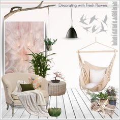 Decorating with Fresh Flowers by deeyanago on Polyvore featuring interior, interiors, interior design, home, home decor, interior decorating, Gubi, Hostess, Bloomingville and Nearly Natural