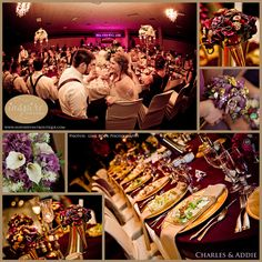 Charles & Addie. A gold and plum wedding. Decor by Unique Designs, part of Inspire Bridal Boutique St. Peter, MN 507-514-2224 inspirebridalboutique.com inspirebridalboutique@gmail.com