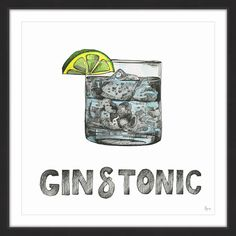 'Gin & Tonic' Framed Painting Print