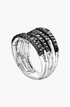 New John Hardy 'Bamboo - Lava' Wide Pave Sapphire Stack Ring,Silver Black Sapphire Ruby fashion online. [$595]newoffershop win<<