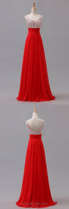 Long Ball Dresses Simple, Red Prom Dresses 2018, Chiffon Graduation Dresses A-line, Cheap Party Dresses for Teens