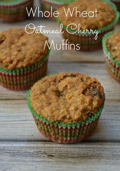 Whole Wheat Cherry Oatmeal Muffins