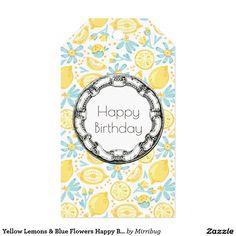 Yellow Lemons & Pastel  Blue Flowers Happy Birthday Gift tag