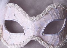 Pale Pink And White Bridal Masquerade Mask With by SOFFITTA