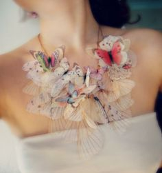 Statement necklace. Jewellery. Fashion. Style. Unique. Butterflies. Pastel. Stunning.