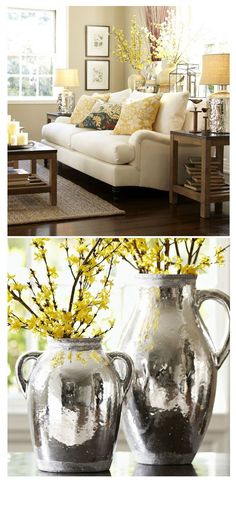 Perfect Rustic Home Decor – so very pretty but I would never have a white couch! Perhaps a tan color for my messy household The post Rustic Home Decor – so very pretty but I would never have a white couch! Perha… appeared first on Decor For Home . New Living Room, My New Room, Home And Living, Living Room Decor Yellow, Yellow Home Decor, Living Room Inspiration, Home Decor Inspiration, Decor Ideas, Room Ideas